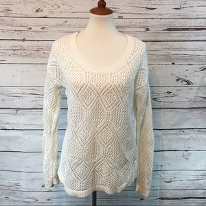 Old Navy 100% Cotton Pullover Knit Sweater White
